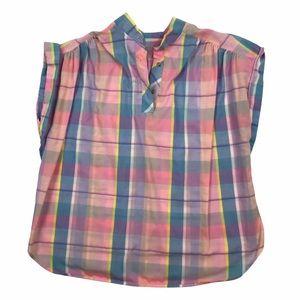 Vintage plaid pastel sleeveless blouse